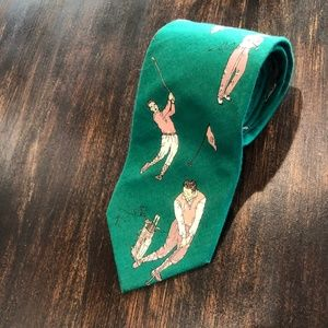 Lands End Golfer NeckTie Tie Green Novelty Tie